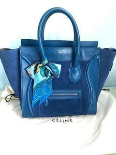 Celine mini luggage navy blue