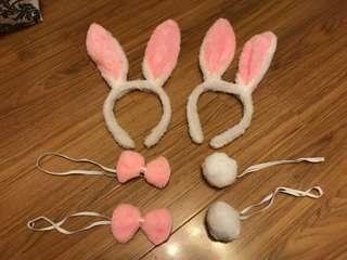 毛毛兔仔造型 (連兔耳朵,蝴蝶結,尾巴) (兩套)
