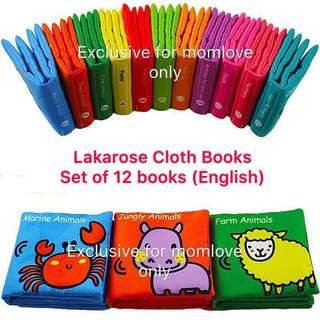 🚚 Ready Stock ! Brand New with Box Lakarose Rainbow Baby Infant Newborn Early Development Educational Cloth Books (Set of 12 books - English Version) *Baby Shower Full-moon Gift Present)