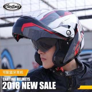 卡丁电动摩托车揭面头盔冬季防晒男女蓝牙个性酷安全帽全盔