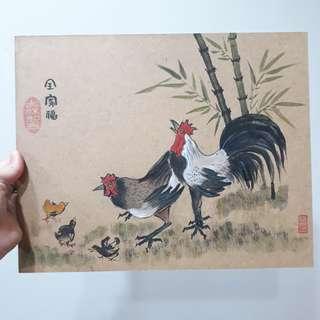 公雞全家福版畫
