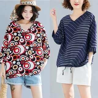 🚚 Plus size vintage cotton and linen irregular striped print top