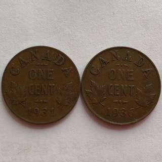 1931-36年加拿大🇨🇦One cent 2個
