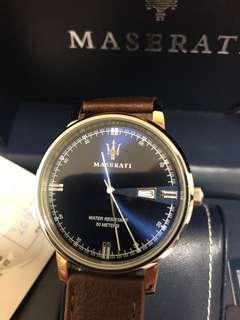 🚚 戴不到五次9.9成新 瑪莎拉蒂藍底錶面、牛皮錶帶