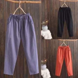 🚚 (XL~4XL) Nine pants women elastic waist high waist harem pants cotton breathable washed cotton trousers