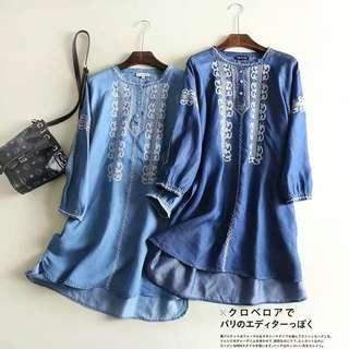 🚚 Loose Fitting fashion ethnic style embroidered round neck cropped sleeves silk denim dress