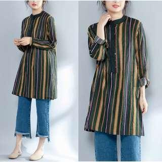 🚚 Plus Size Shirt Women's Long Sleeve Striped Top Shirt