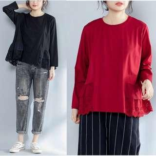 🚚 Plus Size cotton t-shirt loose wild casual blouse