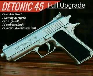 Pistol Mainan Airsoftgun Spring Detonic45 Full Upgrade Custom