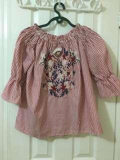 Red Striped Embroidered Off the Shoulder Top