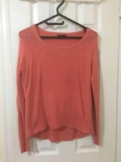 Smart Set Peach Sequin Elbow Patch Sweater