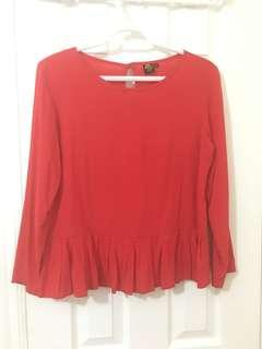 Red Pleated Top Size M