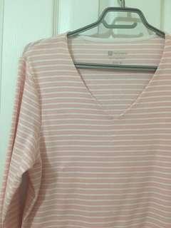 Pink Stripped V Neck Top