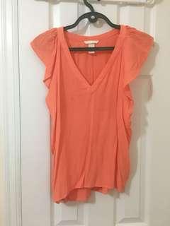 Peach H and M V Neck Blouse Size 8 or Medium