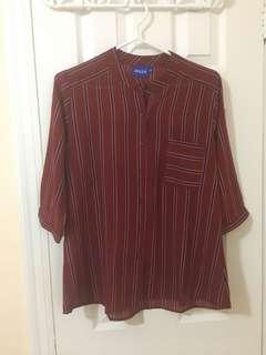 Marroon Stripped Blouse with Pocket
