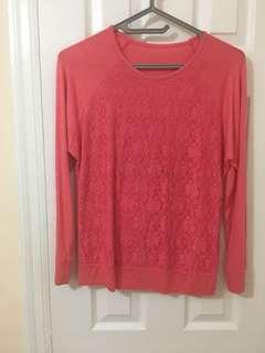 Pink Lace Sweater Size M