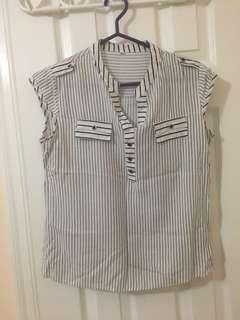 White Stripped Shirt in Size Small