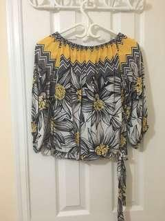Yellow Floral Off the Shoulder Top with Side Tie