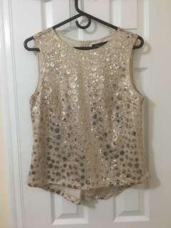 Gold Sequin Blouse in Size L