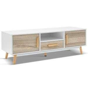 Scandinavian-Inspired Wooden Entertainment Unit – White & Wood