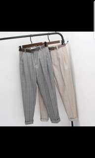 Korean style pants in grey checked grid lines, silm fit