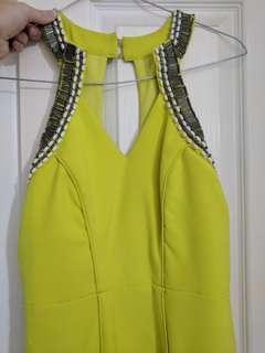 Lumier by Bariano - Lime green beaded halter formal dress - Size XS