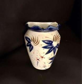Wall hanging porcelain vase with floral design