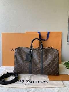 With Receipt Louis Vuitton Keepall 45 With Strap in Monogram Macassar