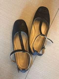 Rustanette Girl's Glittery Black Shoes - Size 12