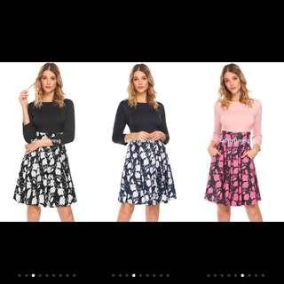🚚 IKNT Women Boat Neck 3/4 Sleeve Print Swing High Waist Vintage Dress