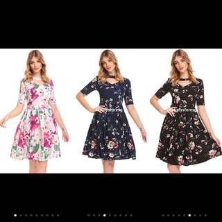 🚚 IKNT Women V-Neck Floral Pleated A-Line Dress