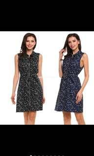 🚚 IKNT Women Sleeveless Print Turn-Down Collar Zip-Up Dress