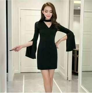 [FREE POSTAGE] Bell Sleeve Choker Bodycon Dress #TRU50