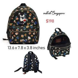 READY STOCK authentic new  Coach F57636 Mini Charlie Nylon Backpack In Tea Rose Floral Print Black Multi