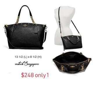READY STOCK authentic new  COACH F37773 KELSEY CHAIN SATCHEL WITH FLORAL RIVETS (IMBLK)