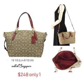 READY STOCK authentic new  Coach SMALL KELSEY SATCHEL IN SIGNATURE JACQUARD (COACH F27582) KHAKI/CHERRY/LIGHT GOLD
