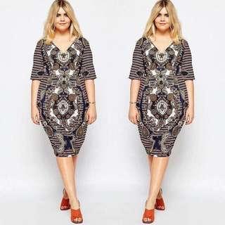 Plus Size V Neck Dress