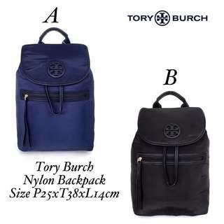 READY STOCK  Name        : Tory Burch Nylon Backpack Size            : P25xT38xL14cm Harga        : 2.050.000 Berat         : 0,84kg Kualitas     : SISA PRODUKSI PABRIK Kelengkapan : Dustbag, paperbag, (selama persediaan masih)