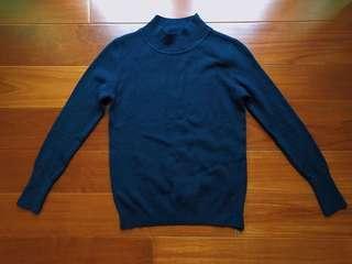 🚚 韓款 半高領針織毛衣 灰藍色
