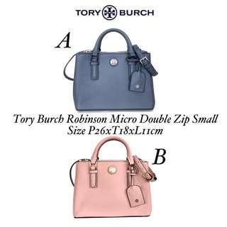 READY STOCK  Name         : Tory Burch Robinson Micro Double Zip Small Size           : P26xT18xL11cm Harga        : 2.700.000 Berat          : 1.10kg Kualitas     : SISA PRODUKSI PABRIK Kelengkapan : Dustbag, paperbag, (selama persediaan masih)