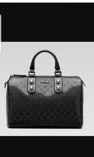 Gucci imprime medium joy stud boston bag black