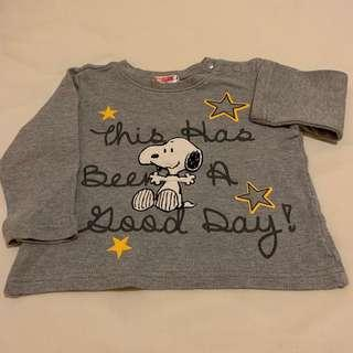 🚚 麗嬰房史努比幼兒灰色長袖圓領衫(80cm)