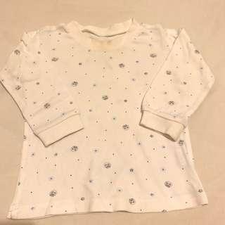 🚚 麗嬰房嬰幼兒純棉白色長袖圓領衛生衣(8M~12M)