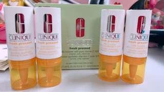 全新 一套四支 Clinique fresh pressed daily booster with pure vitamin C  活性維他命C抗氧活膚激活精華