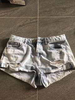Light denim shorts