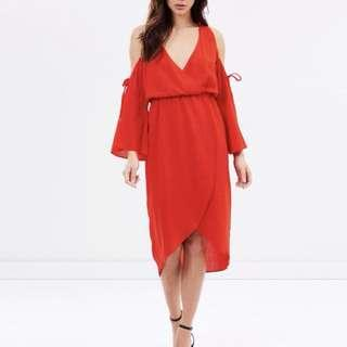 Brand New In Tag Cold Shoulder Wrap Dress In Size 8