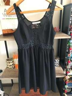 Black Babydoll Dress with Lace Cut Outs