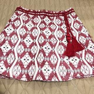 H&M Red Chinese Skirt