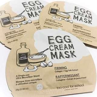 [Per Piece] Too Cool For School Egg Cream Mask (Firming)