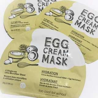[Per Piece] Too Cool For School Egg Cream Mask (Hydration)